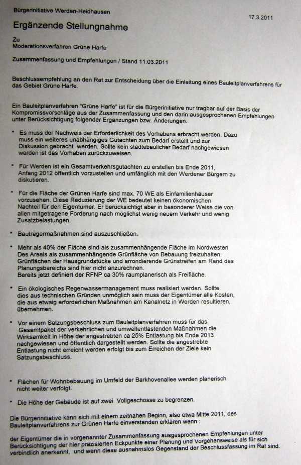 17.3.2011 Grüne Harfe Empfehlungen / Ergänzuingen BI Werden