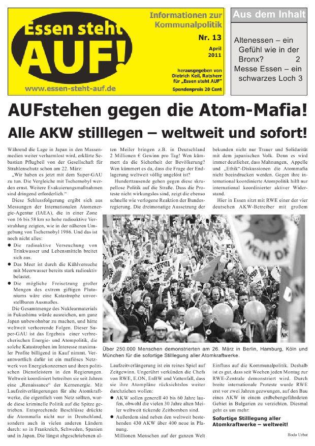Informationen zur Kommunalpolitik Nr. 13 April 2011 / Essen steht AUF
