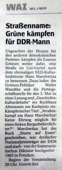 WAZ-Essen 28.4.2011 Ankündigung der Marchwitza-Lesung