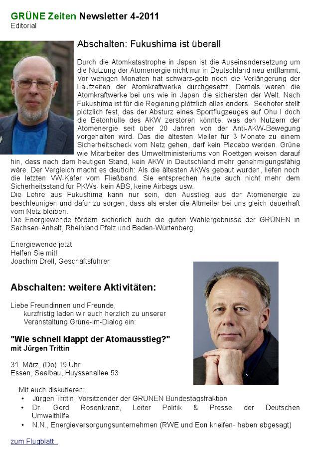 GRÜNE Zeiten Newsletter April 2011